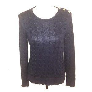Ralph Lauren Navy Blue Cotton cable sweater M